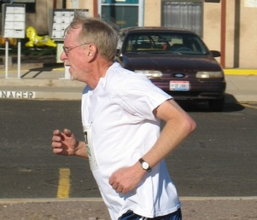 Bill sprints to the finish in the Run For Your Life 5k